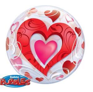 "Red Hearts & Filigree Qualatex 22"" Bubble Balloon"