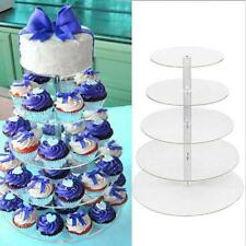5 Tier Clear Acrylic Round Cupcake Stand Wedding Birthday Cake Display Tower