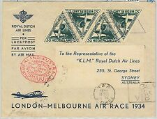 65294 - NETHERLANDS - POSTAL HISTORY: FLIGHT COVER: LONDON - MELBOURNE RACE 1934