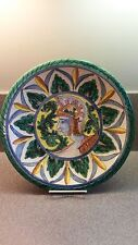 RED CLAY ART POTTERY RELIEF HAND PAINTED WALL PLATE ITALY ROMAN SOLDIER HEAD