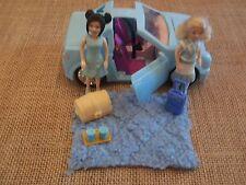 Polly Pocket Blue Car Convertible Camping Travel Picnic Lot Set X83