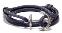 Anchor Bracelet Nautical Paracord Men Women Fashion Jewelry Gray Hand Made USA