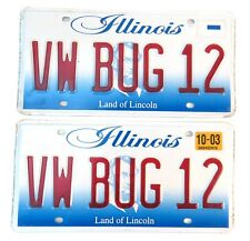 VW Bug Volkswagon Vanity License Plate Illinois Land of Lincoln PAIR