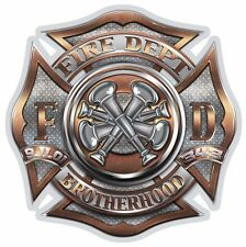 "Fire Dept Polished Brass Diamond Plate Bugle 9-11-01 343 2"" Reflective Decal"