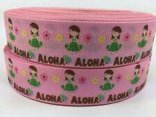 Sale!...3 Yards...1 Inch Girls Pink Hawaii Aloha Grosgrain Ribbon...Lisa