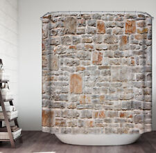 Stone Wall Shower Curtain Fabric w. Hooks 70x70 Natural