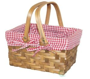 New Vintiquewise Small Rectangular Basket Lined with Gingham Lining, QI003085