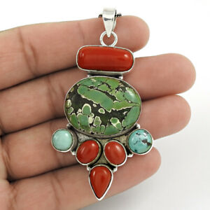 Oval Shape Turquoise Coral Gemstone Jewelry 925 Sterling Silver Pendant Q3