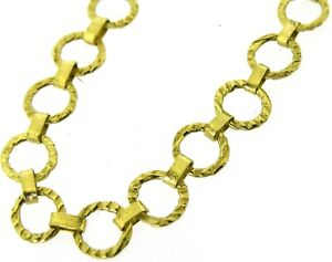 Solid 18kt 18Carat yellow gold flat round links chain necklace 19 inches craft