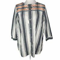 Woolrich Eco Rich Cleo Falls Tunic Stripe Organic Cotton Women's Large Tassel