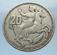 1960 GREECE King PAUL I Silver 20 Drachmai Coin SELENE DIANA MOON GODDESS i69472