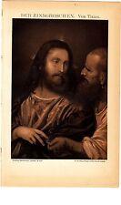 ca 1890 TITIAN The TRIBUTE MONEY Antique Sepia Lithograph Print