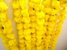 Artificial Marigold Flowers Garlands for Decoration - Pack of 5 (Yellow)
