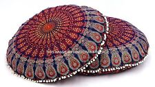 2 PC Indian Mandala Floor Cushion Cover Decor Round Throw Cotton Pillow Case 32""