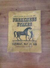 Very Rare 1939 Preakness Stakes Press Brochure