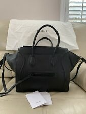 WOW $3500 Authentic Celine Medium Luggage Phantom Tote Bag In Black Leather