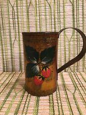Vintage Handpainted Metal Toleware Mug/Cup - Strawberries - Signed Ann Pawlin