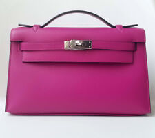 NEW Hermes Kelly Pochette Mini Clutch Rose Pourpre PINK Purple Swift PHW bag