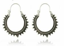 Silver Earrings Hoops Bali Moroccan Ethnic Boho Tribal Arabic Afghan India GIFT