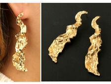 LARGE LONG Drop Geometric Gold Earrings Minimalist Art Abstract Statement Dangle