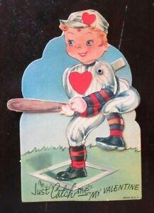 Vintage Used Die Cut Mechanical Valentine Card BASEBALL BOY AT BAT - CATCH ME!