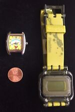 SET OF 2 WATCHES - Spongebob watch RARE w/ new battery,  PLANKTON WATCH IN TIN