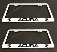 2x ACURA STAINLESS Chrome License Plate Frame w/screw Caps Style LL 2003-2018