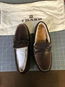 Trask 30-0152 Bourbon American Bison Shearling House Shoes Size 9M NEW(NIB)