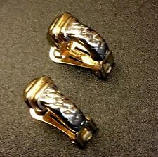 Vintage Estate Jewelry Signed David Grau 2 Tone Clipon Earrings Made In Spain