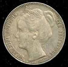 1901 Netherlands One Gulden Silver Coin KM# 122.1