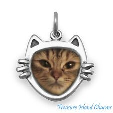 Cat Face with Whiskers Picture Photo Frame 925 Sterling Silver Charm Pendant