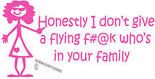 FUNNY FAMILY STICKER GIRL DON'T GIVE A FLYING F#@K WHO'S IN IT BUMPER STICKER PK