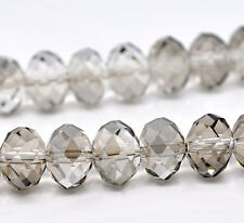 35 GREY 12mm CRYSTAL GLASS ~5040~ RONDELLE BEADS ~ Bracelets~Necklace (42F) UK