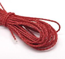 10M Cordon Tressé Simili cuir Couleur Rouge 3mm