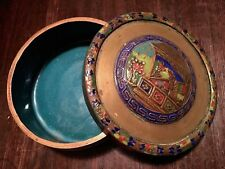 Vintage Chinese Hand Painted Enamel Brass Copper Trinket Jewelry Box