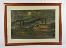 Antique Lithograph Print Robert E. Lee Steamboat Vs Natchez Race 1870 Donaldson