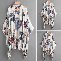 ZANZEA Damen Blumen Fledermaus Lose Bluse Freizeit Kimono Tops Shirt Ponchos