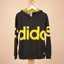 Vintage ADIDAS Black & Yellow Big Logo Sweater Hoodie Size YOUTH XL R38026