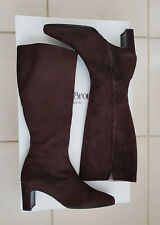 Russell & Bromley Marron Chocolat Daim Bottes Longues Cuir Doublure MADE IN ITALY
