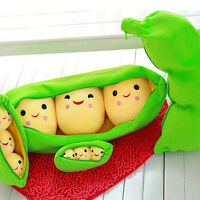 Super Cute Smiling Little Peas Kid Soft Plush Stuffed Toy Doll 3 Peas in a Pod