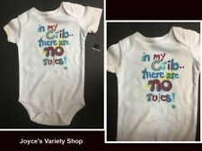 Infant One Piece IN MY CRIB THERE ARE NO RULES 12 MO Boy or Girl Faded Glory