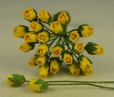 48 YELLOW ROSE BUDS (S) Mulberry Paper Flowers wedding miniature