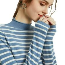 Women's Striped Wool Blend Knitted Sweater Mock Neck Pullover Casual Warm Tops D