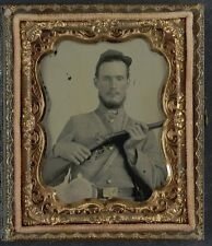 Photo Civil War Confederate In Uniform With Percussion Shotgun and Two Canteens