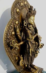 TRAUM! Masterpiece Avalokiteshvara Statue feuervergoldet Gesicht TIBET 12Kg 52cm