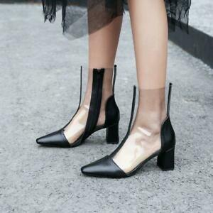 Chic Women Knee High Boots Block Mid Heel Spring Summer Transparent Rubber Shoes