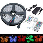 5M 300 LEDs SMD 3528 5050 RGB Flexible Strip Light + Remote +DC 12V Power Supply