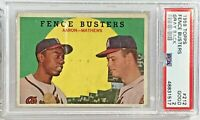 1959 Topps #212 Fence Busters Gray Back Aaron / Mathews PSA Good 2
