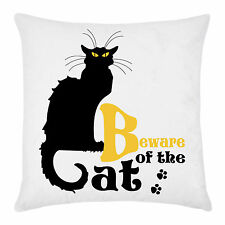 Federa per cuscino Beware of the Cat, le Chat Noir, Halloween home decor idea!