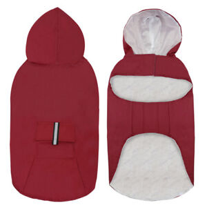 Dog Raincoats for Large Dogs Waterproof Reflective Pet Rain Jacket with Hood Red
